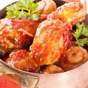 Pollo en Salsa con <br/>Champiñones